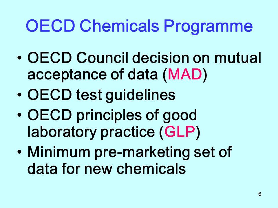7 MAD (Mutual Acceptance of Data) in the assessment of chemicals OECD กำหนดให้สมาชิกต้องปฏิบัติตามกติกาว่าด้วยการ ควบคุมสารเคมีโดยให้ข้อมูลการประเมินสารเคมี?.