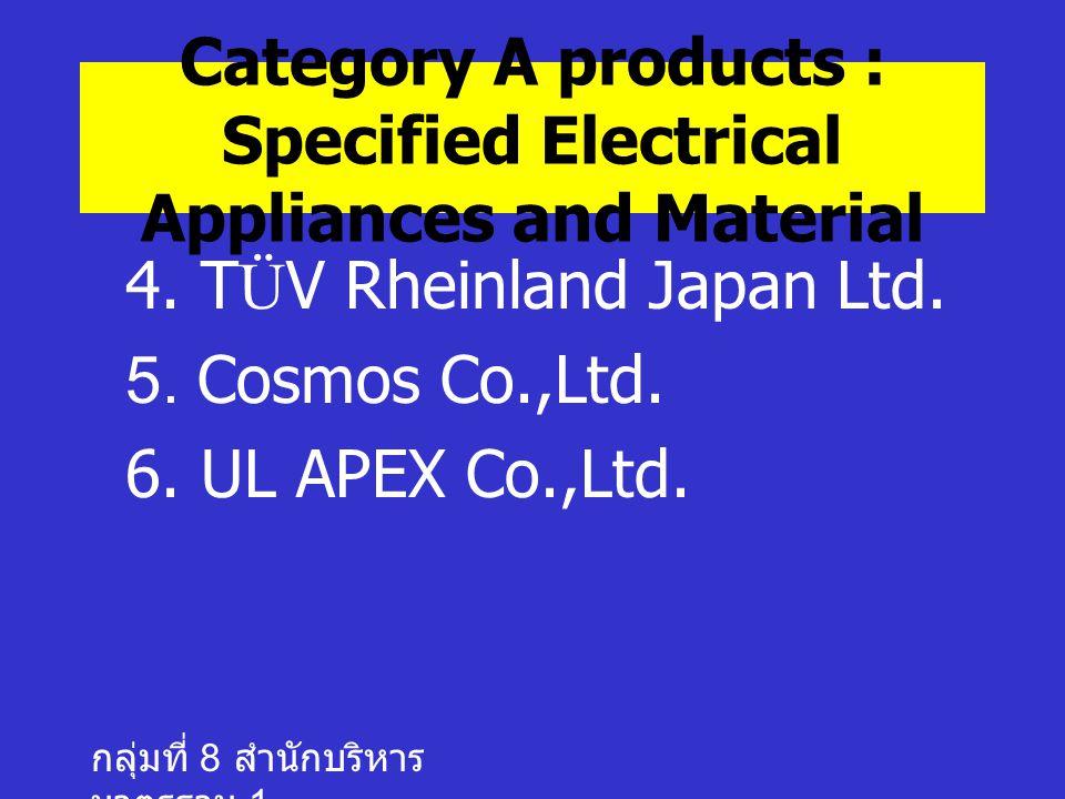 กลุ่มที่ 8 สำนักบริหาร มาตรฐาน 1 4.TÜV Rheinland Japan Ltd.