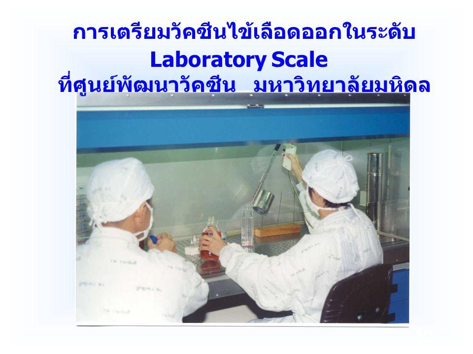 10 การเตรียมวัคซีนไข้เลือดออกในระดับ Laboratory Scale ที่ศูนย์พัฒนาวัคซีน มหาวิทยาลัยมหิดล