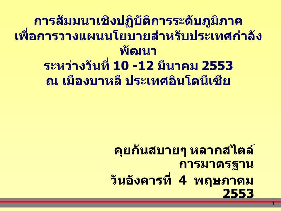 1 การสัมมนาเชิงปฏิบัติการระดับภูมิภาค เพื่อการวางแผนนโยบายสำหรับประเทศกำลัง พัฒนา ระหว่างวันที่ 10 -12 มีนาคม 2553 ณ เมืองบาหลี ประเทศอินโดนีเซีย คุยกันสบายๆ หลากสไตล์ การมาตรฐาน วันอังคารที่ 4 พฤษภาคม 2553
