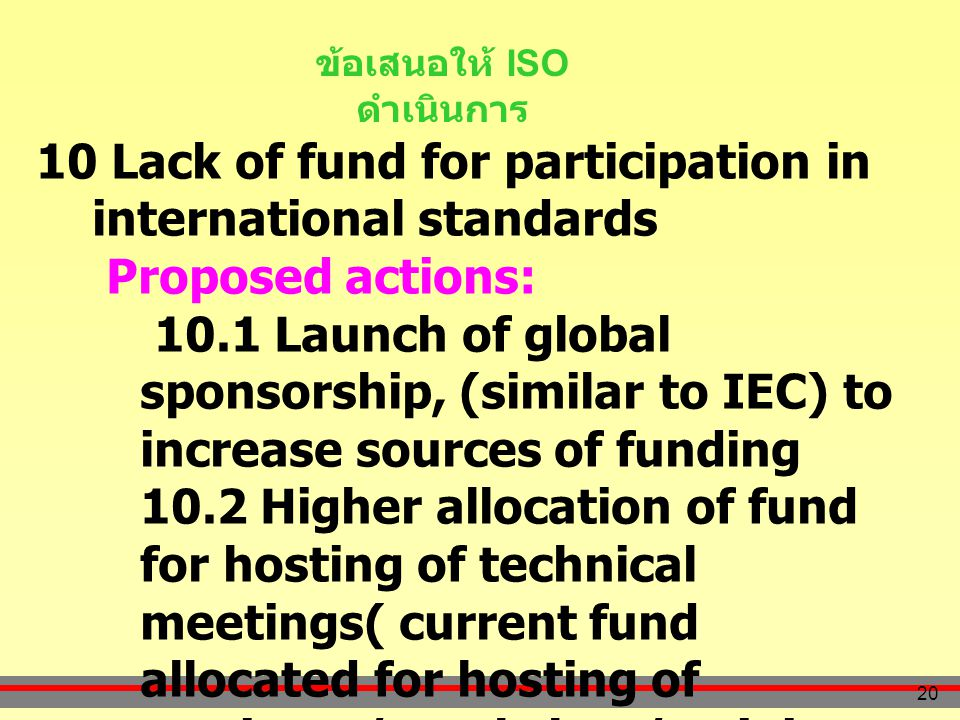 20 ข้อเสนอให้ ISO ดำเนินการ 10 Lack of fund for participation in international standards Proposed actions: 10.1 Launch of global sponsorship, (similar to IEC) to increase sources of funding 10.2 Higher allocation of fund for hosting of technical meetings( current fund allocated for hosting of seminars/ workshop/training purpose 10.3 To reduce the royalty of developing countries and increase retrocession