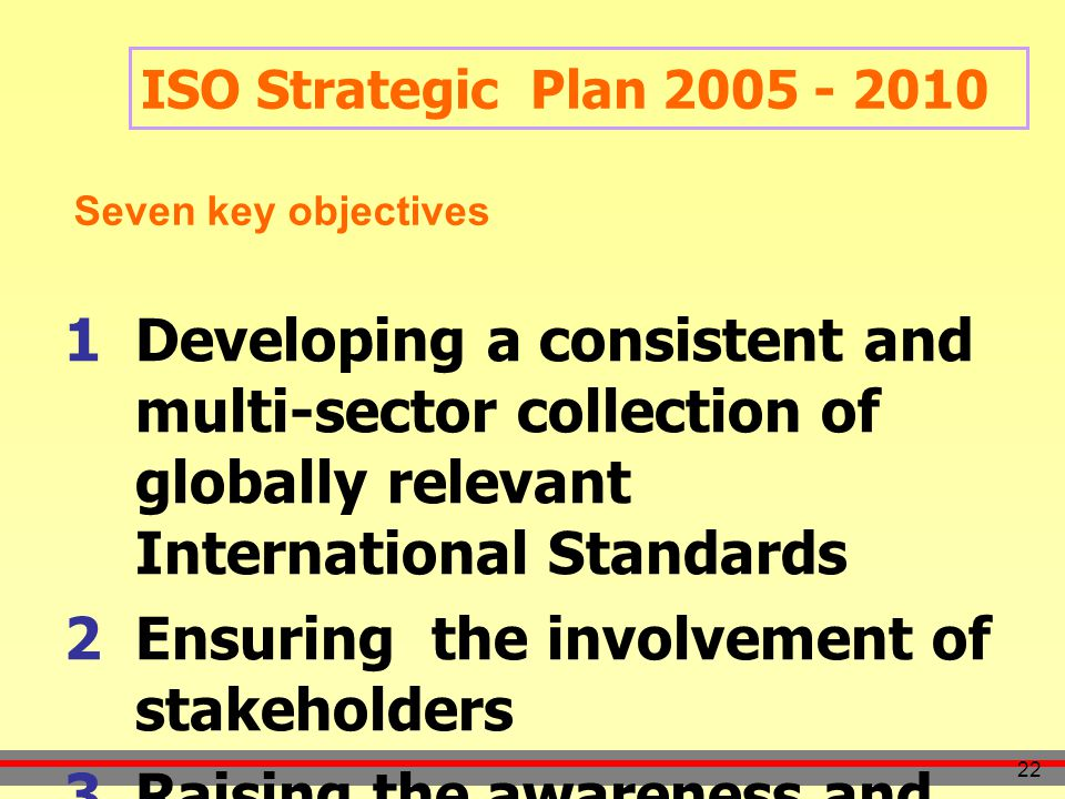22 ISO Strategic Plan 2005 - 2010  Developing a consistent and multi-sector collection of globally relevant International Standards  Ensuring the involvement of stakeholders  Raising the awareness and capacity of developing countries Seven key objectives