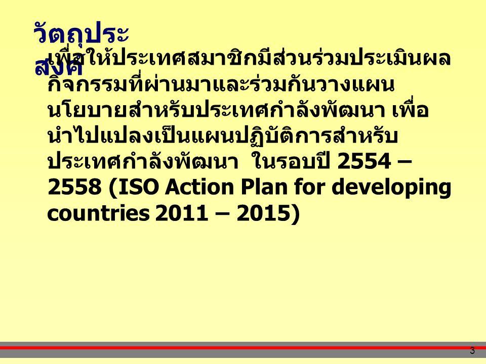 3 วัตถุประ สงค์ เพื่อให้ประเทศสมาชิกมีส่วนร่วมประเมินผล กิจกรรมที่ผ่านมาและร่วมกันวางแผน นโยบายสำหรับประเทศกำลังพัฒนา เพื่อ นำไปแปลงเป็นแผนปฏิบัติการสำหรับ ประเทศกำลังพัฒนา ในรอบปี 2554 – 2558 (ISO Action Plan for developing countries 2011 – 2015)