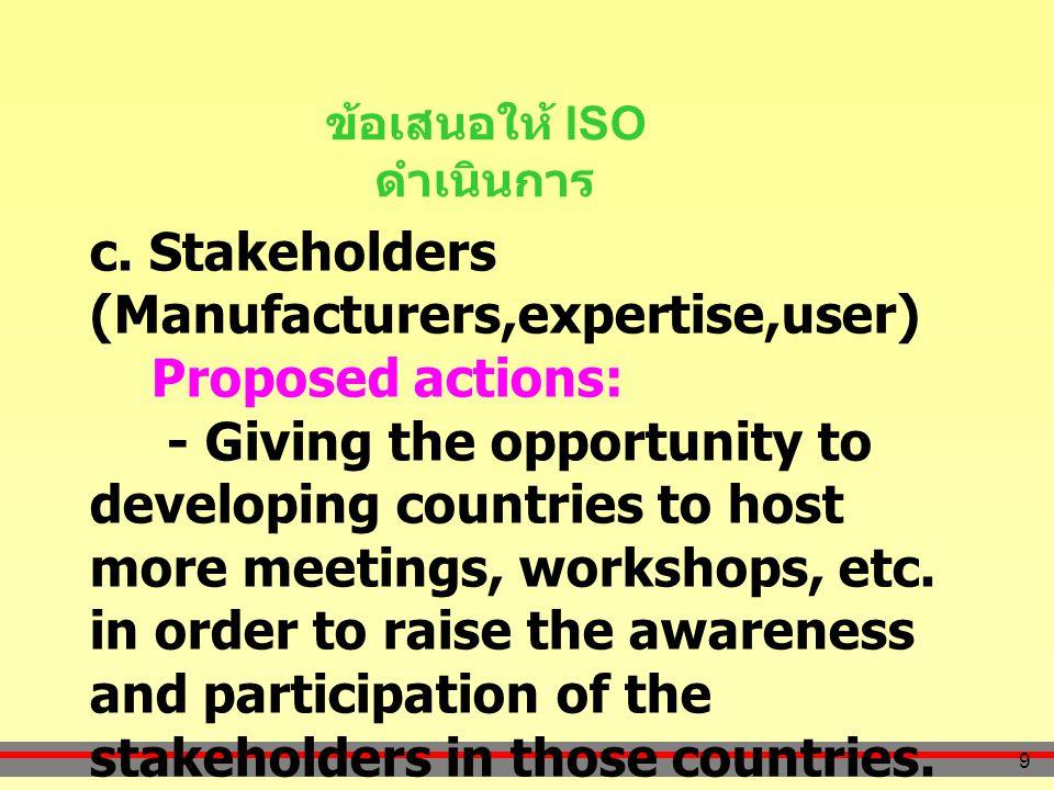 9 ข้อเสนอให้ ISO ดำเนินการ c.