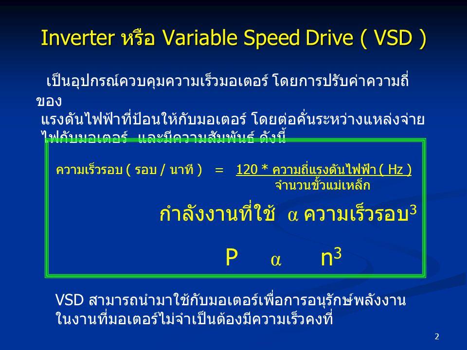 2 Inverter หรือ Variable Speed Drive ( VSD ) เป็นอุปกรณ์ควบคุมความเร็วมอเตอร์ โดยการปรับค่าความถี่ ของ แรงดันไฟฟ้าที่ป้อนให้กับมอเตอร์ โดยต่อคั่นระหว่