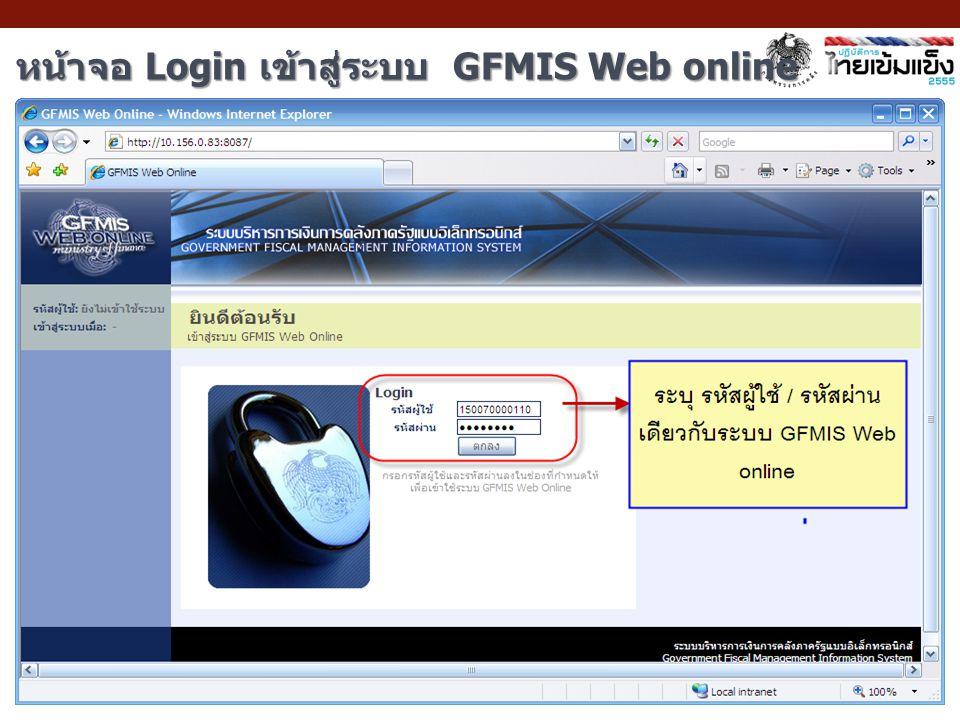 หน้าจอ Login เข้าสู่ระบบ GFMIS Web online