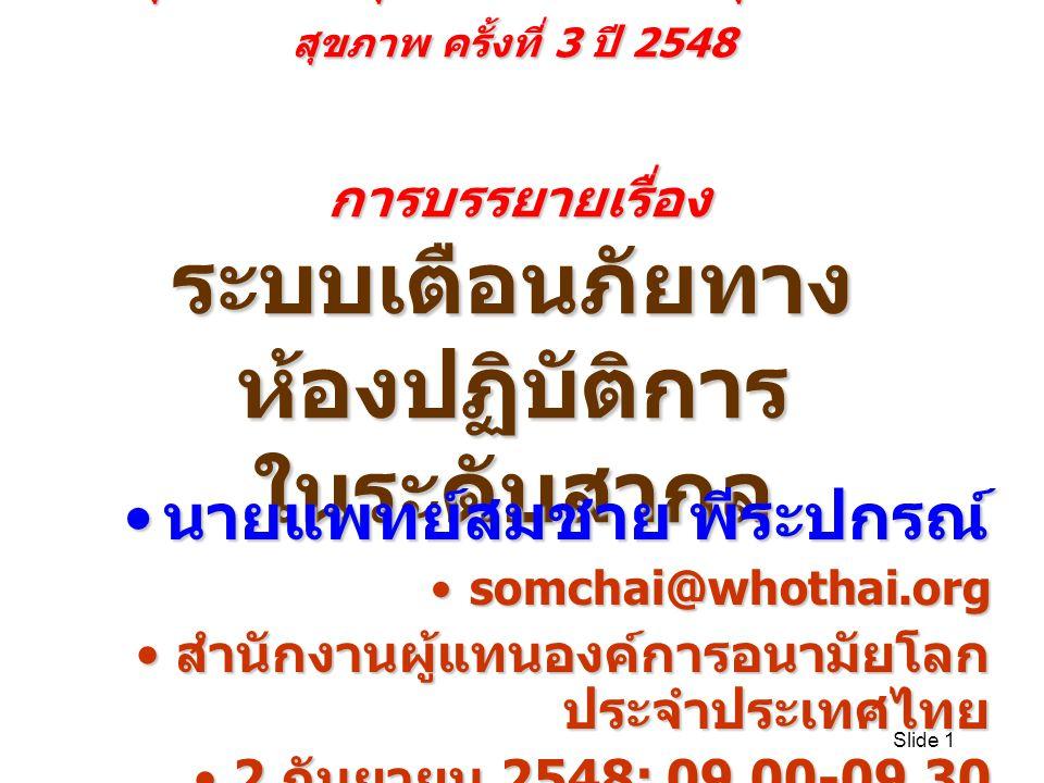 Slide 1 ประชุมวิชาการกลุ่มภารกิจด้านสนับสนุนงานบริการ สุขภาพ ครั้งที่ 3 ปี 2548 การบรรยายเรื่อง ระบบเตือนภัยทาง ห้องปฏิบัติการ ในระดับสากล นายแพทย์สมชาย พีระปกรณ์ นายแพทย์สมชาย พีระปกรณ์ somchai@whothai.orgsomchai@whothai.org สำนักงานผู้แทนองค์การอนามัยโลก ประจำประเทศไทย สำนักงานผู้แทนองค์การอนามัยโลก ประจำประเทศไทย 2 กันยายน 2548; 09.00-09.302 กันยายน 2548; 09.00-09.30