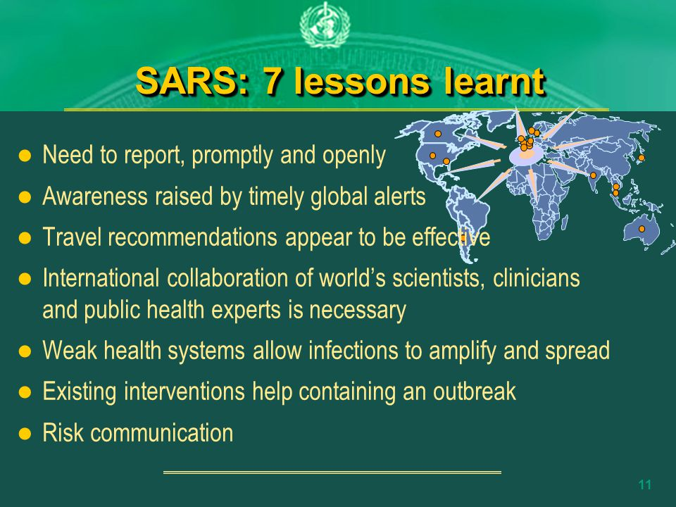 10 The WHO response to SARS 2 Apr.12 Mar.