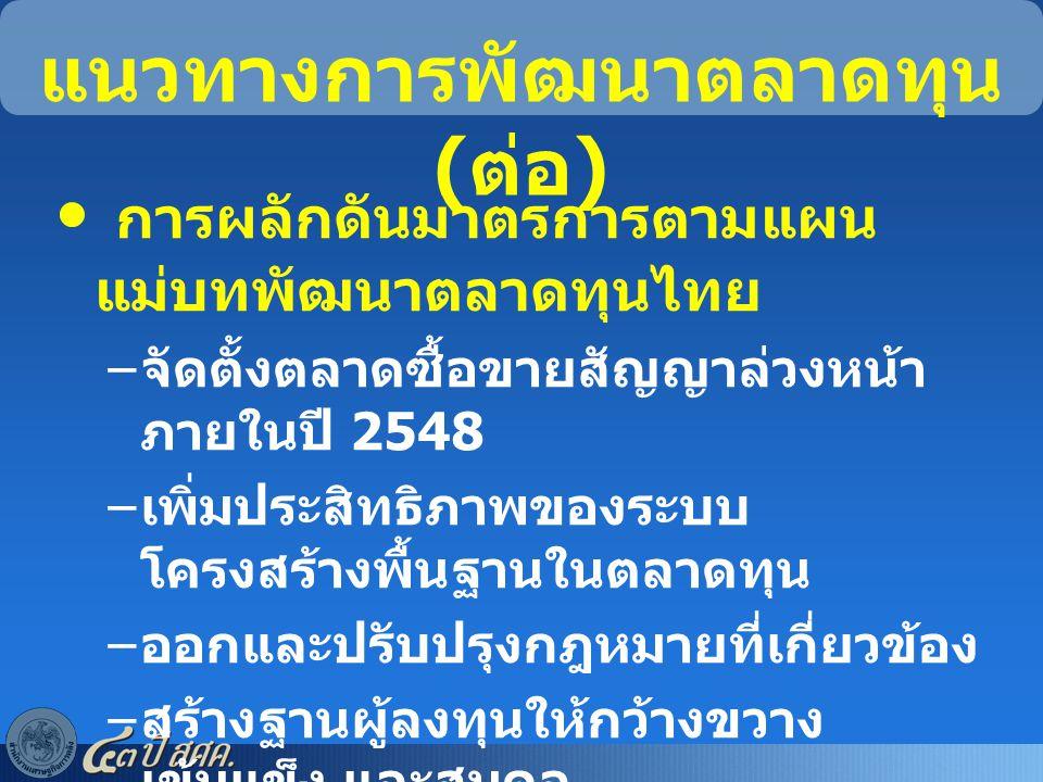 แนวทางการพัฒนาตลาดทุน ( ต่อ ) การผลักดันมาตรการตามแผน แม่บทพัฒนาตลาดทุนไทย – จัดตั้งตลาดซื้อขายสัญญาล่วงหน้า ภายในปี 2548 – เพิ่มประสิทธิภาพของระบบ โค