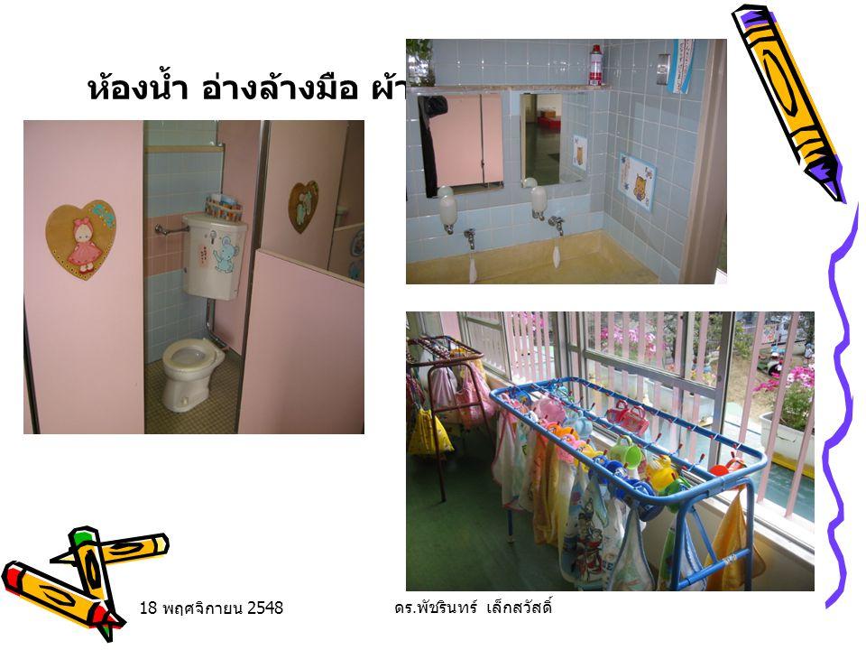 18 พฤศจิกายน 2548 ดร. พัชรินทร์ เล็กสวัสดิ์ ห้องน้ำ อ่างล้างมือ ผ้าเช็ดมือ