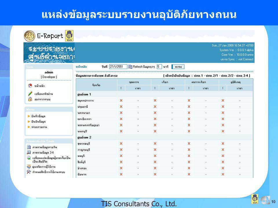 10 แหล่งข้อมูลระบบรายงานอุบัติภัยทางถนน TIS Consultants Co., Ltd.