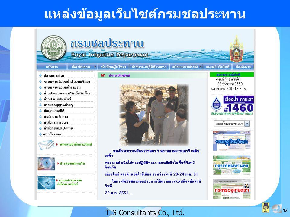 12 แหล่งข้อมูลเว็บไซต์กรมชลประทาน TIS Consultants Co., Ltd.