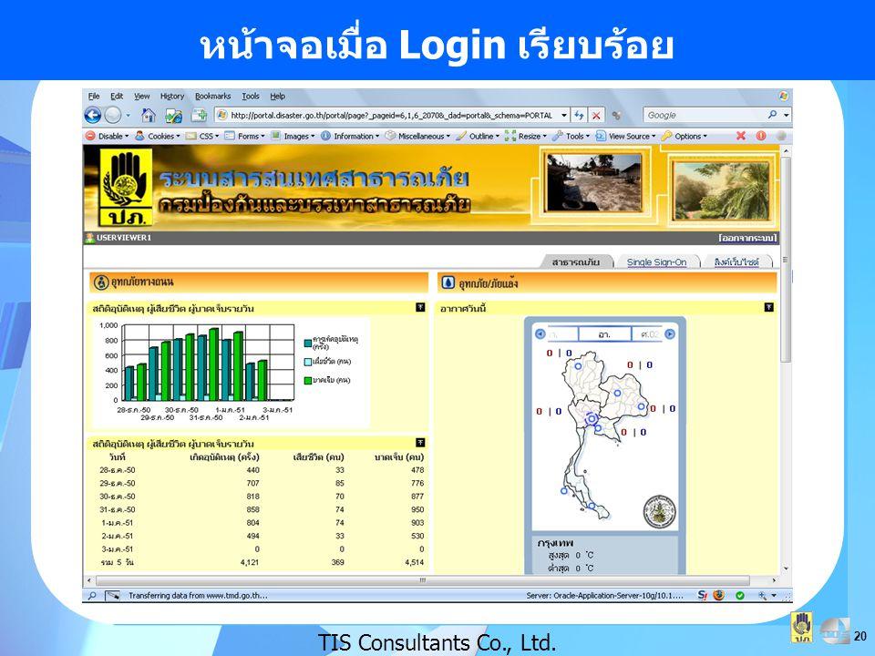 20 หน้าจอเมื่อ Login เรียบร้อย TIS Consultants Co., Ltd.