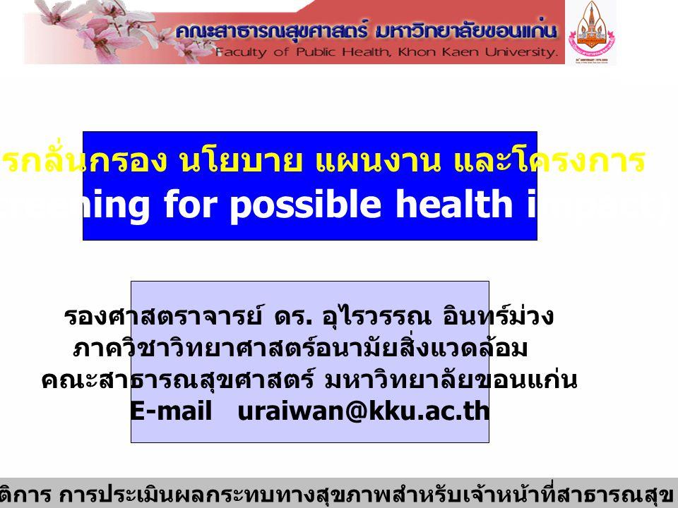 1 การอบรมเชิงปฏิบัติการ การประเมินผลกระทบทางสุขภาพสำหรับเจ้าหน้าที่สาธารณสุข 2-6 มีนาคม 2552 การกลั่นกรอง นโยบาย แผนงาน และโครงการ (Screening for poss