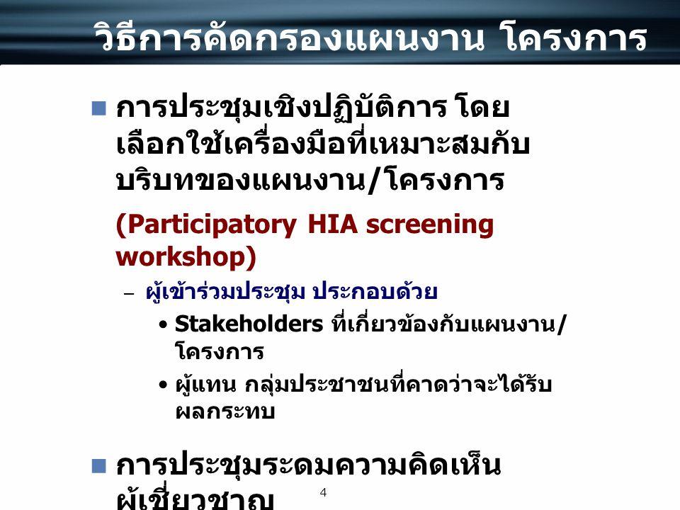 4 วิธีการคัดกรองแผนงาน โครงการ การประชุมเชิงปฏิบัติการ โดย เลือกใช้เครื่องมือที่เหมาะสมกับ บริบทของแผนงาน / โครงการ (Participatory HIA screening works