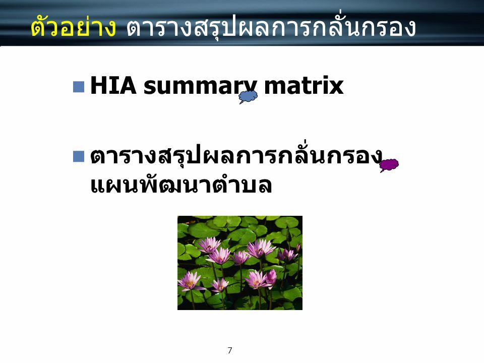 7 ตัวอย่าง ตารางสรุปผลการกลั่นกรอง HIA summary matrix ตารางสรุปผลการกลั่นกรอง แผนพัฒนาตำบล