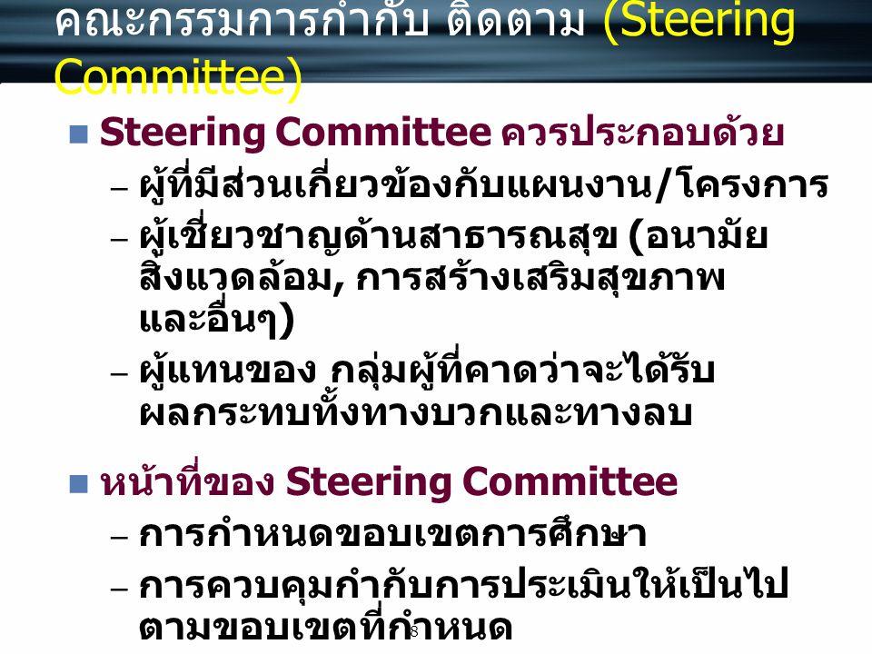 8 คณะกรรมการกำกับ ติดตาม (Steering Committee) Steering Committee ควรประกอบด้วย – ผู้ที่มีส่วนเกี่ยวข้องกับแผนงาน / โครงการ – ผู้เชี่ยวชาญด้านสาธารณสุข
