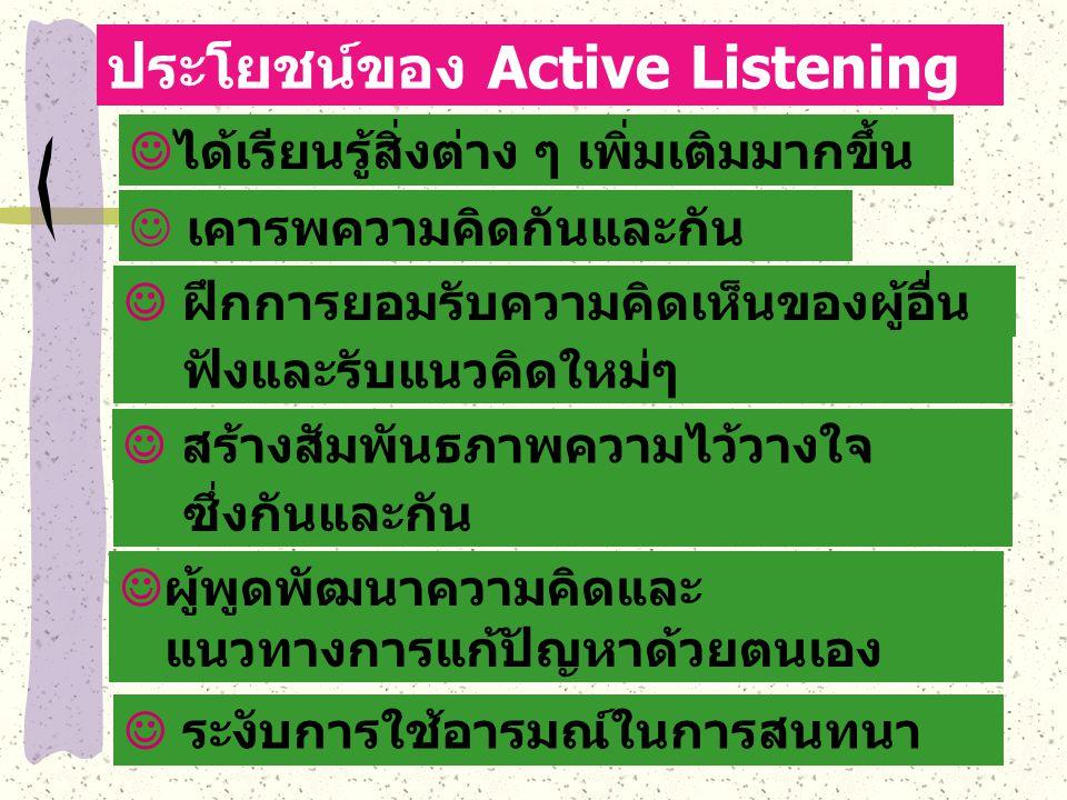 ประโยชน์ของ Active Listening ได้เรียนรู้สิ่งต่าง ๆ เพิ่มเติมมากขึ้น เคารพความคิดกันและกัน ฝึกการยอมรับความคิดเห็นของผู้อื่น สร้างสัมพันธภาพความไว้วางใ