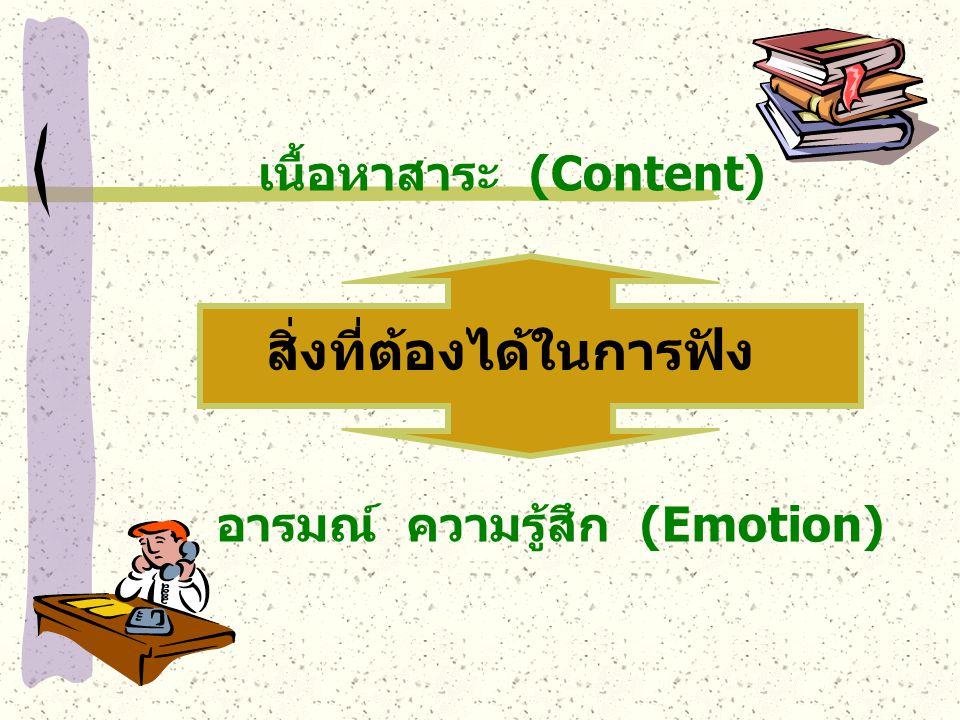 สิ่งที่ต้องได้ในการฟัง เนื้อหาสาระ (Content) อารมณ์ ความรู้สึก (Emotion)