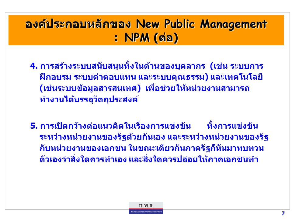 6 6 องค์ประกอบหลักของ New Public Management : NPM องค์ประกอบหลักของ New Public Management : NPM การประชุมของ The Commonwealth Association For Public A