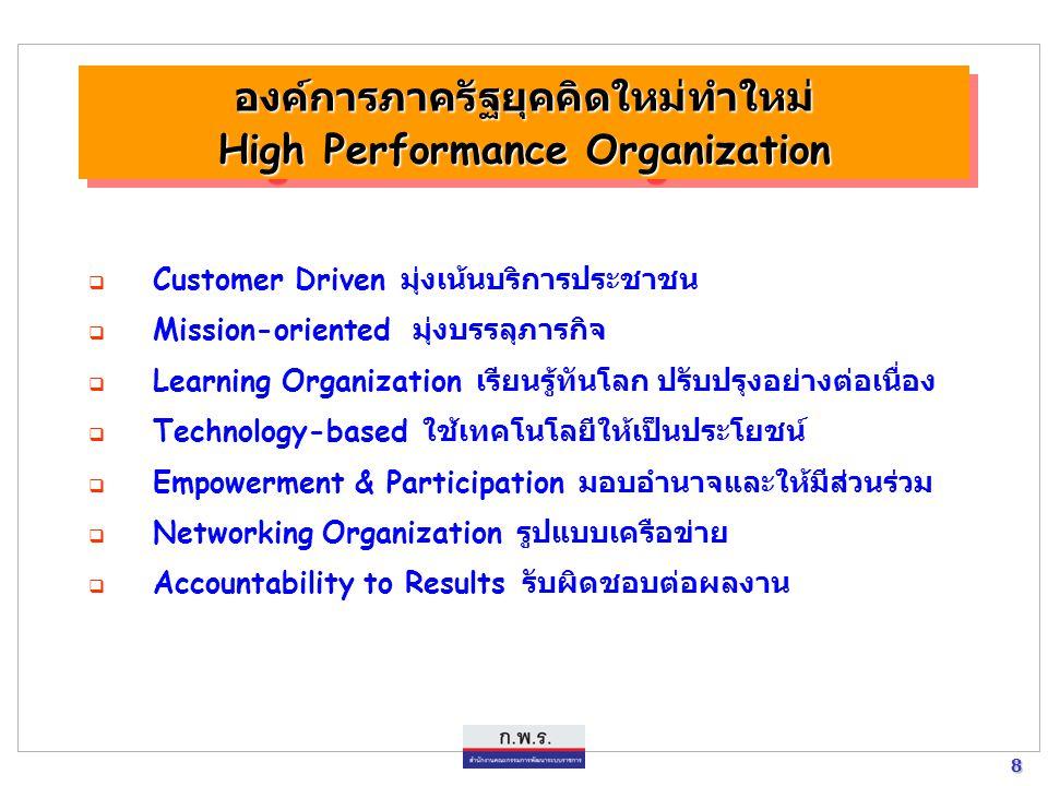 7 7 องค์ประกอบหลักของ New Public Management : NPM (ต่อ) 4. การสร้างระบบสนับสนุนทั้งในด้านของบุคลากร (เช่น ระบบการ ฝึกอบรม ระบบค่าตอบแทน และระบบคุณธรรม