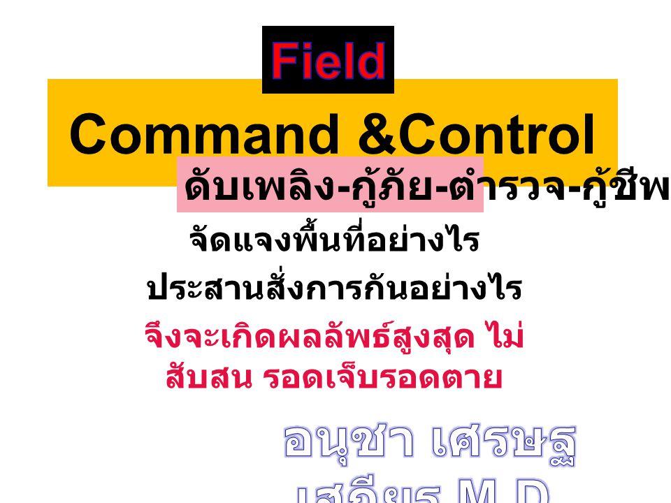 Command &Control จัดแจงพื้นที่อย่างไร ประสานสั่งการกันอย่างไร จึงจะเกิดผลลัพธ์สูงสุด ไม่ สับสน รอดเจ็บรอดตาย ดับเพลิง - กู้ภัย - ตำรวจ - กู้ชีพ