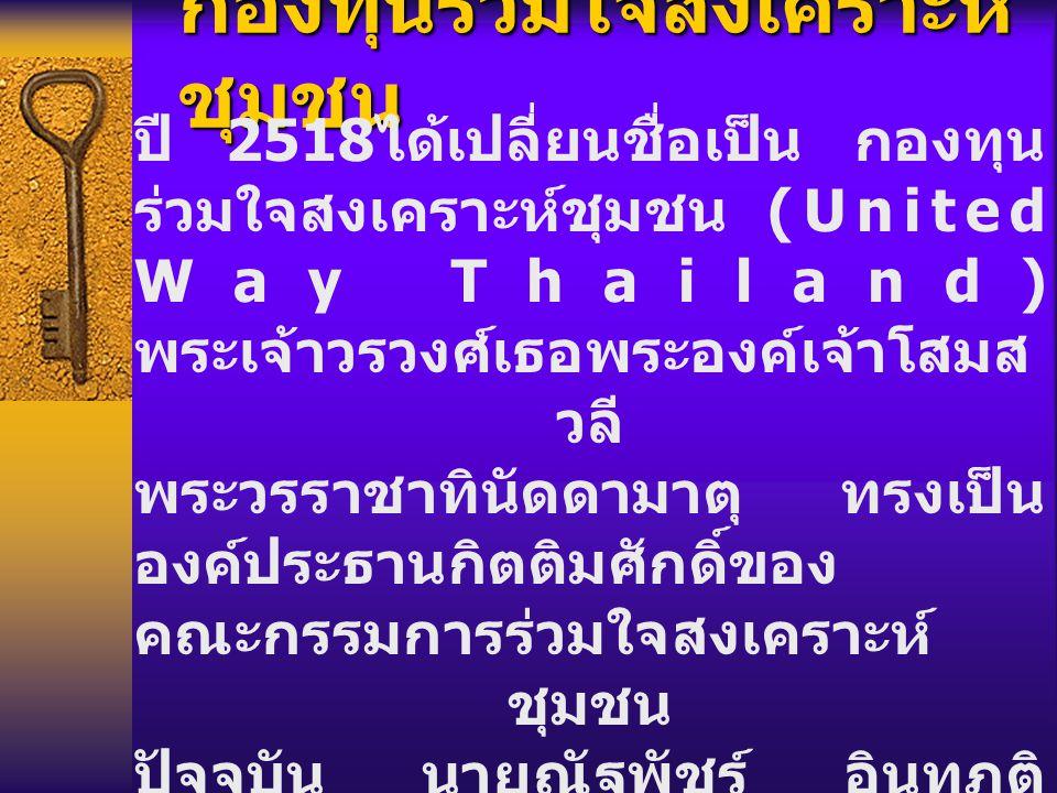 กองทุนร่วมใจสงเคราะห์ ชุมชน ปี 2518 ได้เปลี่ยนชื่อเป็น กองทุน ร่วมใจสงเคราะห์ชุมชน (United Way Thailand) พระเจ้าวรวงศ์เธอพระองค์เจ้าโสมส วลี พระวรราชาทินัดดามาตุ ทรงเป็น องค์ประธานกิตติมศักดิ์ของ คณะกรรมการร่วมใจสงเคราะห์ ชุมชน ปัจจุบัน นายณัฐพัชร์ อินทุภูติ ประธานสภาสังคมสงเคราะห์ฯ เป็นประธานกรรมการร่วมใจ สงเคราะห์ชุมชน