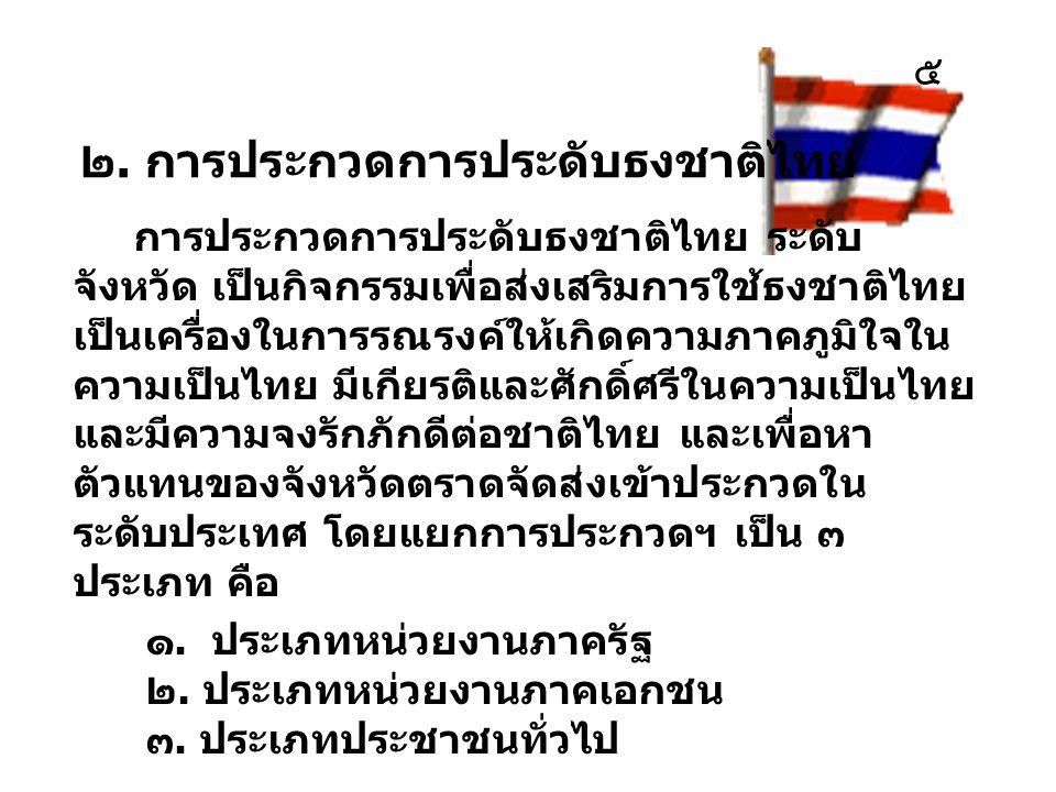 ๒. การประกวดการประดับธงชาติไทย การประกวดการประดับธงชาติไทย ระดับ จังหวัด เป็นกิจกรรมเพื่อส่งเสริมการใช้ธงชาติไทย เป็นเครื่องในการรณรงค์ให้เกิดความภาคภ