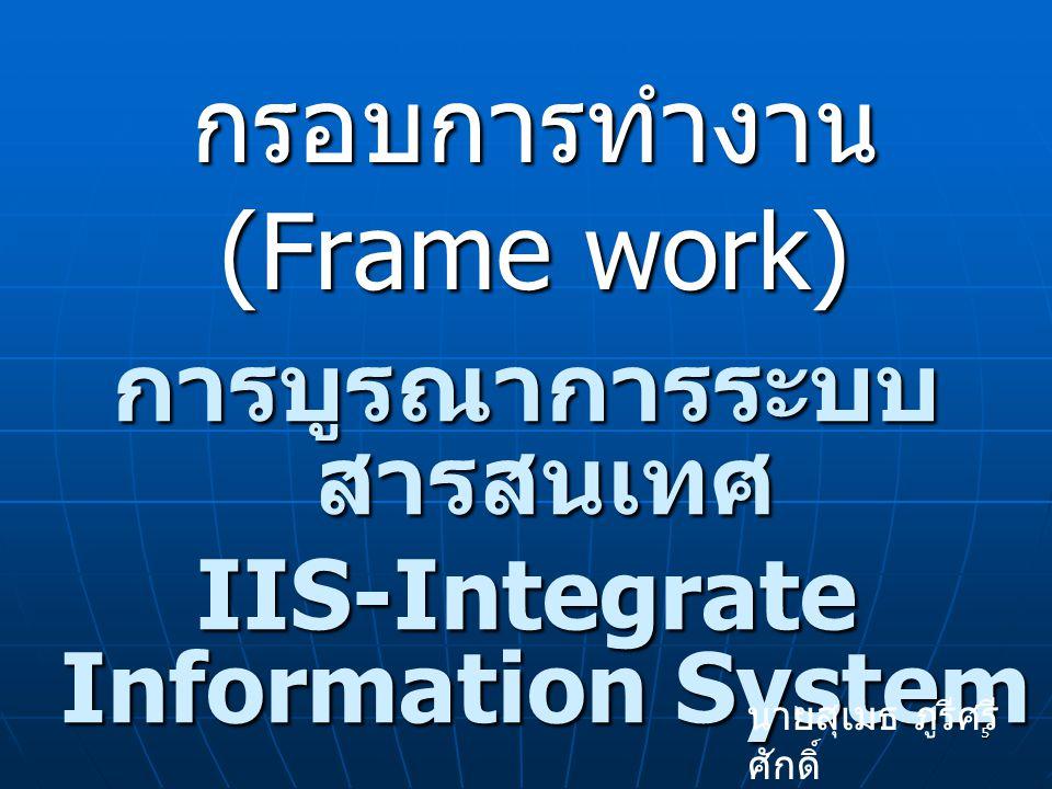 5 กรอบการทำงาน (Frame work) การบูรณาการระบบ สารสนเทศ IIS-Integrate Information System นายสุเมธ ภูรีศรี ศักดิ์
