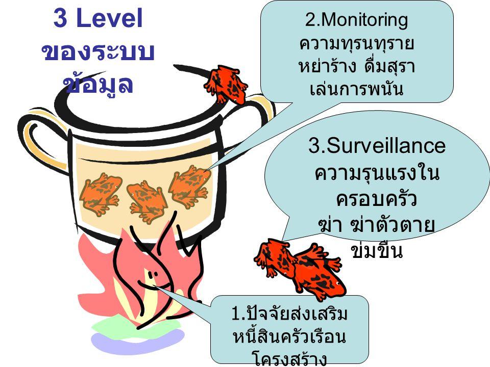 3 Level ของระบบ ข้อมูล 3.Surveillance ความรุนแรงใน ครอบครัว ฆ่า ฆ่าตัวตาย ข่มขืน 1. ปัจจัยส่งเสริม หนี้สินครัวเรือน โครงสร้าง ประชากร 2.Monitoring ควา