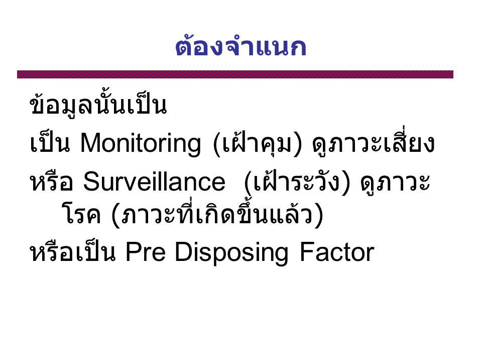ต้องจำแนก ข้อมูลนั้นเป็น เป็น Monitoring ( เฝ้าคุม ) ดูภาวะเสี่ยง หรือ Surveillance ( เฝ้าระวัง ) ดูภาวะ โรค ( ภาวะที่เกิดขึ้นแล้ว ) หรือเป็น Pre Disposing Factor