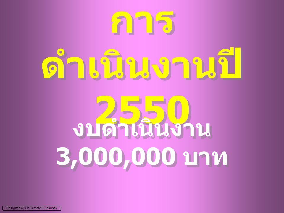 Designed by Mr.Sumate Puresrisak การ ดำเนินงานปี 2550 งบดำเนินงาน 3,000,000 บาท