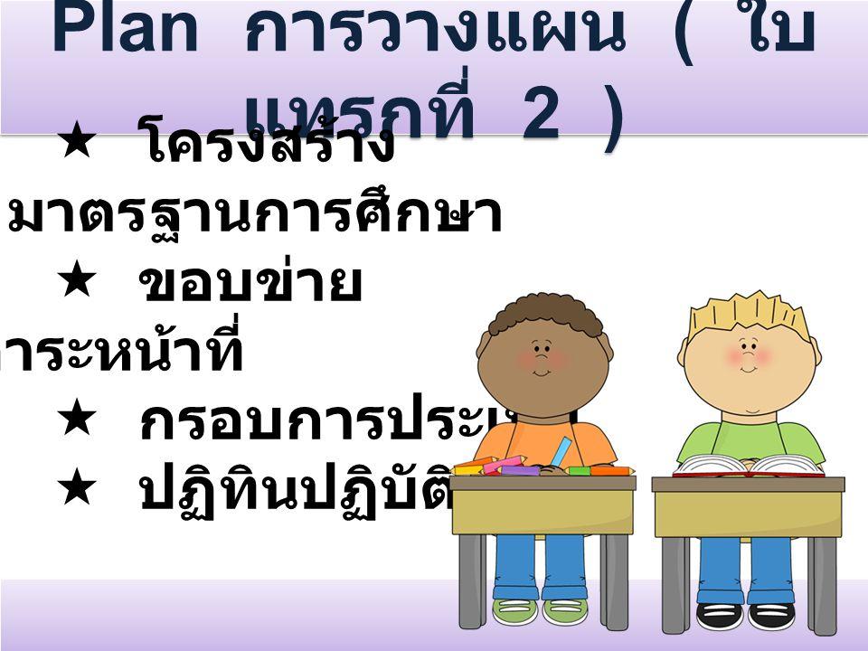 Plan การวางแผน ( ใบ แทรกที่ 2 )  โครงสร้าง มาตรฐานการศึกษา  ขอบข่าย ภาระหน้าที่  กรอบการประเมิน  ปฏิทินปฏิบัติงาน