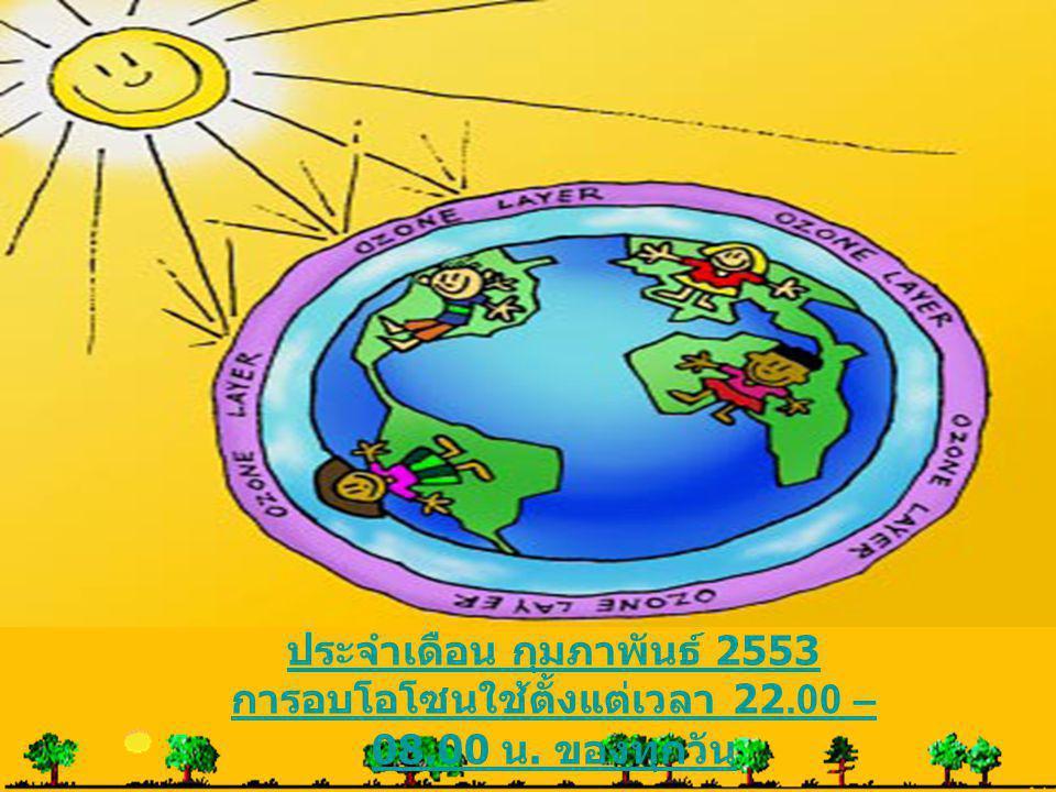 ประจำเดือน กุมภาพันธ์ 2553 การอบโอโซนใช้ตั้งแต่เวลา 22.00 – 08.00 น. ของทุกวัน