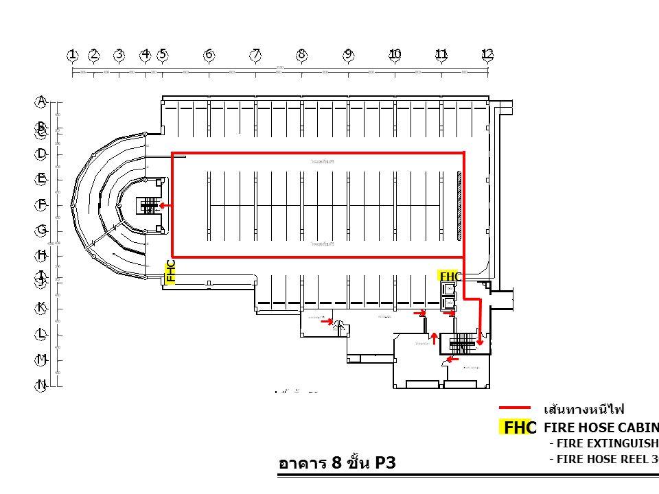 อาคาร 8 ชั้น P3 FIRE HOSE CABINET FHC เส้นทางหนีไฟ - FIRE EXTINGUISHER 10 LBS. - FIRE HOSE REEL 30 M. FHC