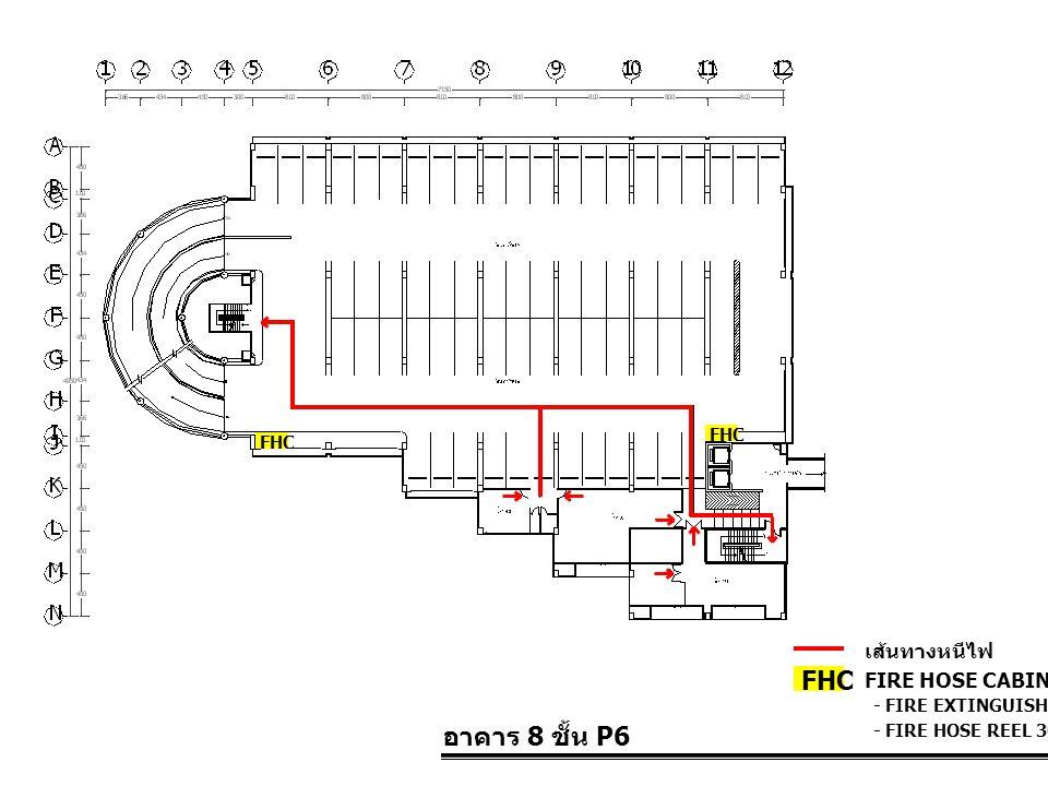 อาคาร 8 ชั้น P6 FIRE HOSE CABINET FHC เส้นทางหนีไฟ - FIRE EXTINGUISHER 10 LBS. - FIRE HOSE REEL 30 M. FHC