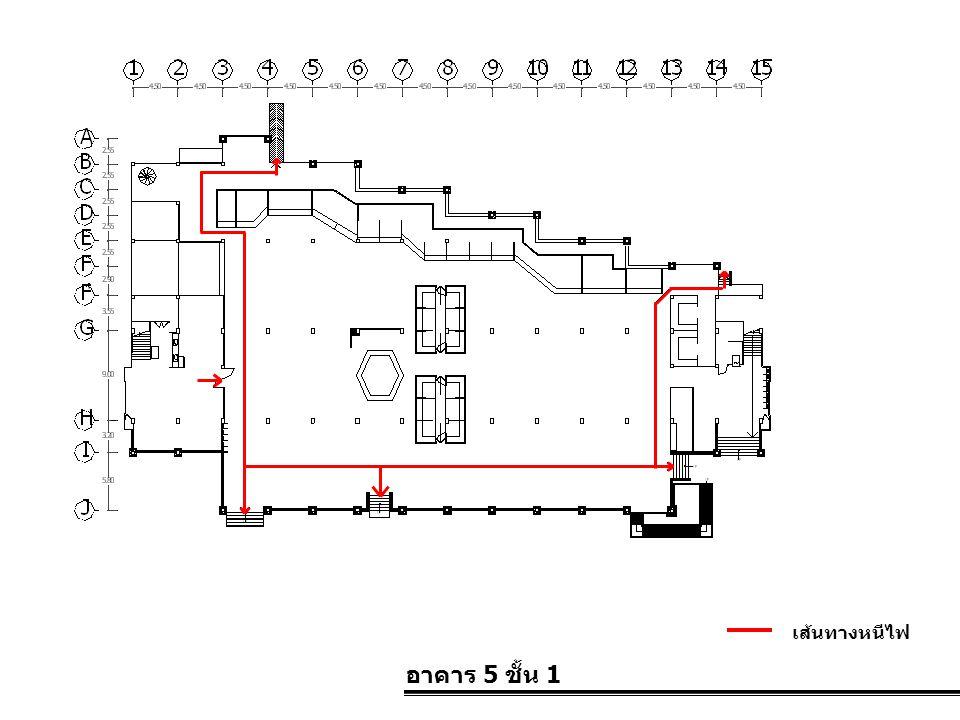 อาคาร 5 ชั้น 1 เส้นทางหนีไฟ