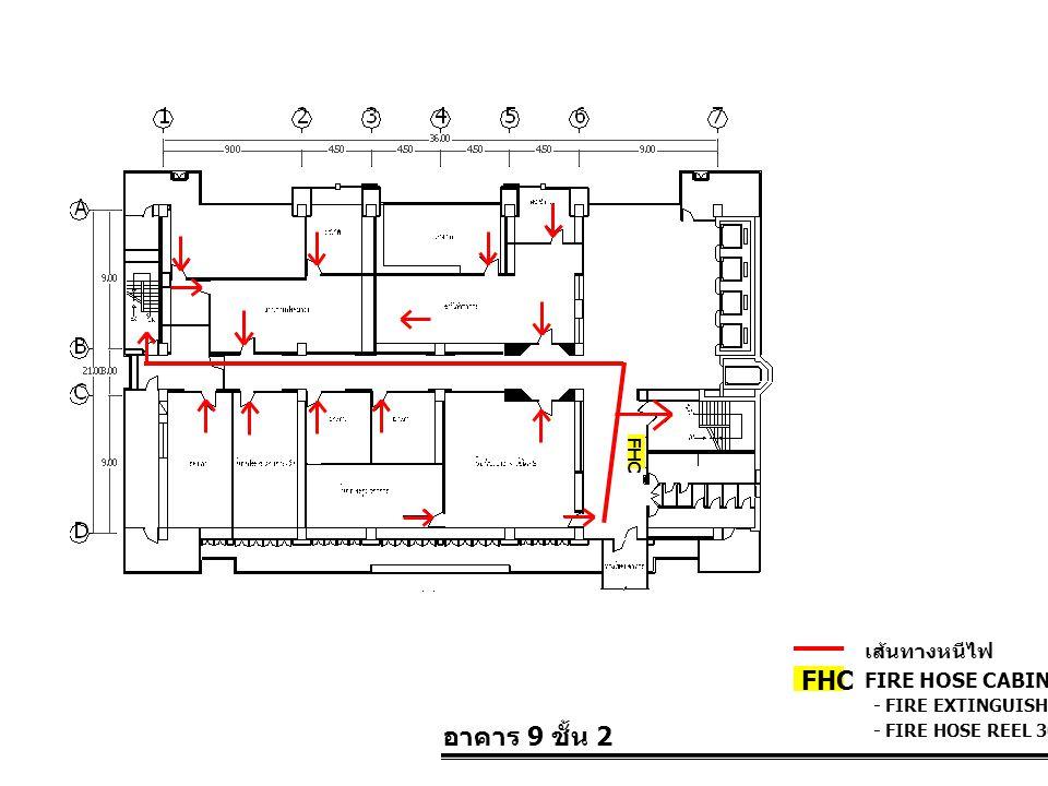 อาคาร 9 ชั้น 2 FIRE HOSE CABINET FHC เส้นทางหนีไฟ - FIRE EXTINGUISHER 10 LBS. - FIRE HOSE REEL 30 M. FHC