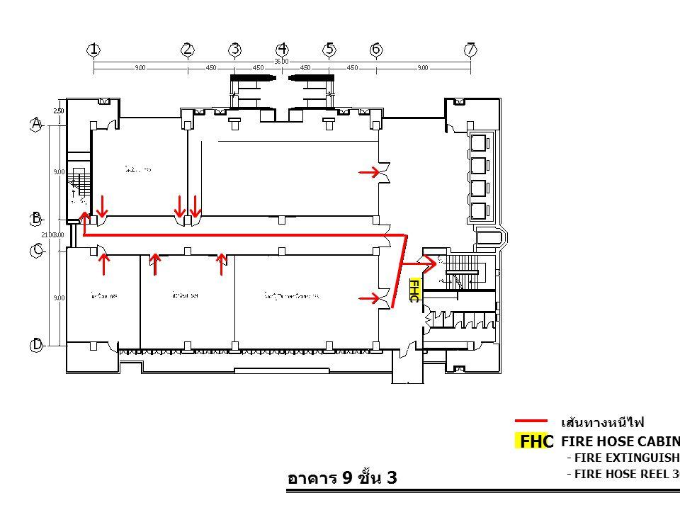 อาคาร 9 ชั้น 3 FIRE HOSE CABINET FHC เส้นทางหนีไฟ - FIRE EXTINGUISHER 10 LBS. - FIRE HOSE REEL 30 M. FHC