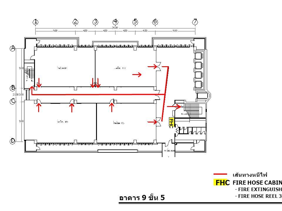อาคาร 9 ชั้น 5 FIRE HOSE CABINET FHC เส้นทางหนีไฟ - FIRE EXTINGUISHER 10 LBS. - FIRE HOSE REEL 30 M. FHC