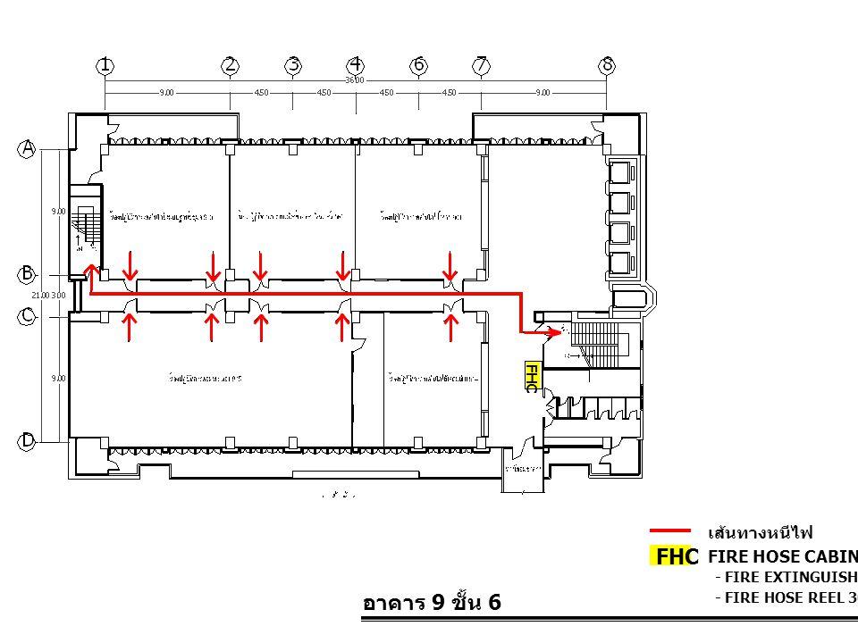 อาคาร 9 ชั้น 6 FIRE HOSE CABINET FHC เส้นทางหนีไฟ - FIRE EXTINGUISHER 10 LBS. - FIRE HOSE REEL 30 M. FHC