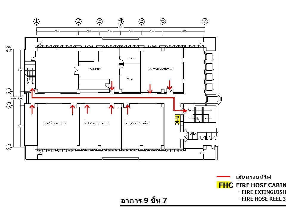 อาคาร 9 ชั้น 7 FIRE HOSE CABINET FHC เส้นทางหนีไฟ - FIRE EXTINGUISHER 10 LBS. - FIRE HOSE REEL 30 M. FHC