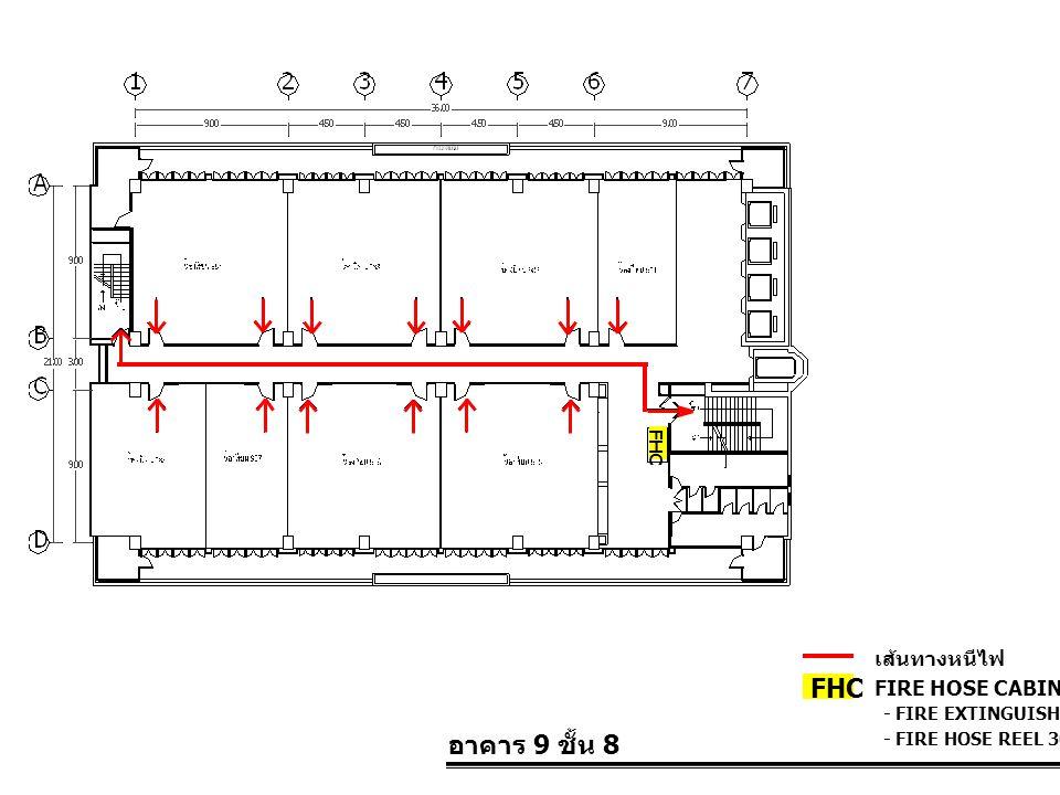 อาคาร 9 ชั้น 8 FIRE HOSE CABINET FHC เส้นทางหนีไฟ - FIRE EXTINGUISHER 10 LBS. - FIRE HOSE REEL 30 M. FHC