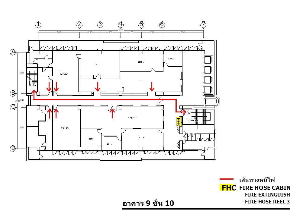 อาคาร 9 ชั้น 10 FIRE HOSE CABINET FHC เส้นทางหนีไฟ - FIRE EXTINGUISHER 10 LBS. - FIRE HOSE REEL 30 M. FHC