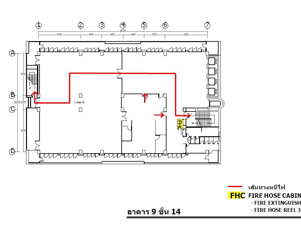 อาคาร 9 ชั้น 14 FIRE HOSE CABINET FHC เส้นทางหนีไฟ - FIRE EXTINGUISHER 10 LBS. - FIRE HOSE REEL 30 M. FHC
