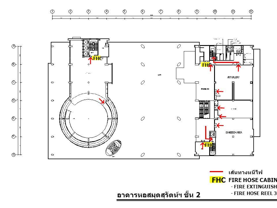 อาคารหอสมุดสุรัตน์ฯ ชั้น 2 FIRE HOSE CABINET FHC เส้นทางหนีไฟ - FIRE EXTINGUISHER 10 LBS. - FIRE HOSE REEL 30 M. FHC
