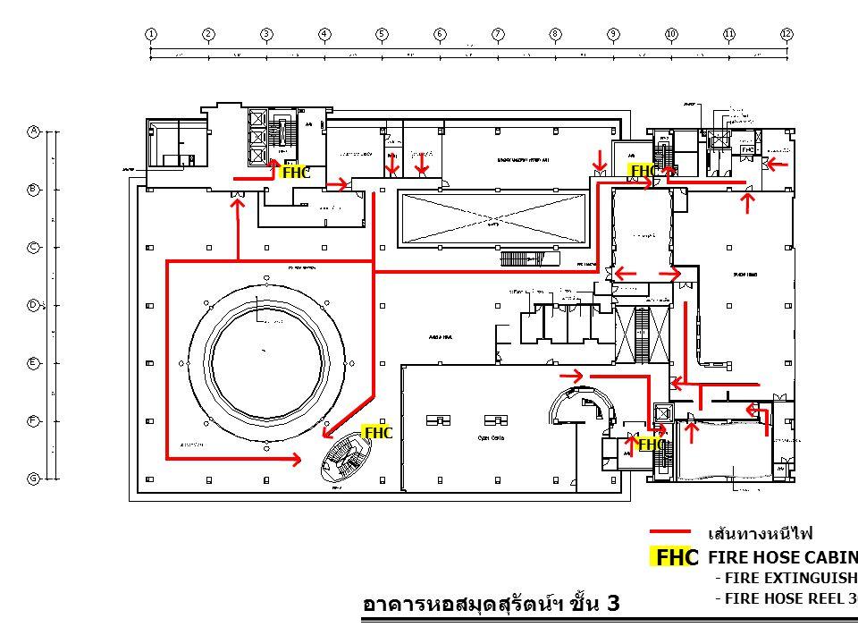 อาคารหอสมุดสุรัตน์ฯ ชั้น 3 FIRE HOSE CABINET FHC เส้นทางหนีไฟ - FIRE EXTINGUISHER 10 LBS. - FIRE HOSE REEL 30 M. FHC