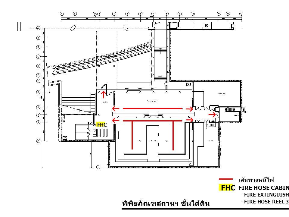 พิพิธภัณฑสถานฯ ชั้นใต้ดิน FIRE HOSE CABINET FHC เส้นทางหนีไฟ - FIRE EXTINGUISHER 10 LBS. - FIRE HOSE REEL 30 M. FHC