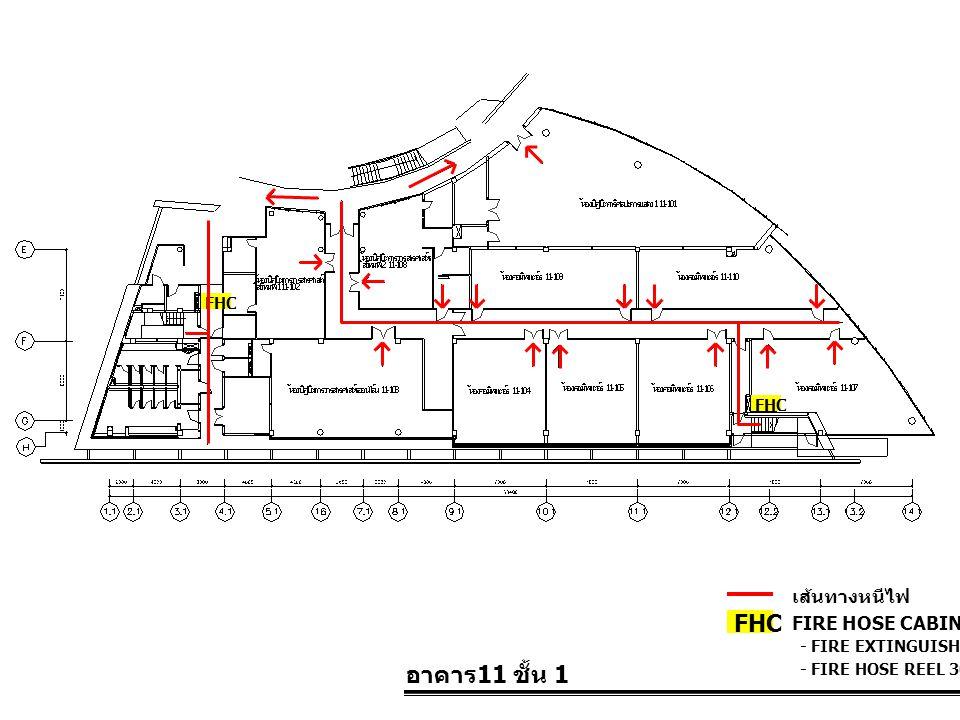 อาคาร 11 ชั้น 1 FIRE HOSE CABINET FHC เส้นทางหนีไฟ - FIRE EXTINGUISHER 10 LBS. - FIRE HOSE REEL 30 M. FHC
