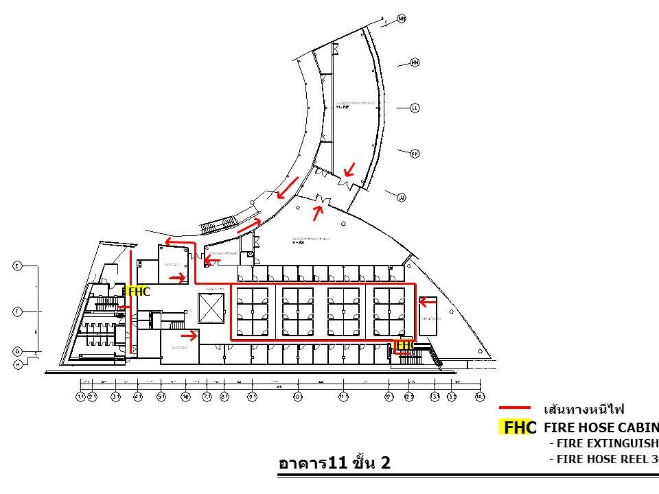 อาคาร 11 ชั้น 2 FIRE HOSE CABINET FHC เส้นทางหนีไฟ - FIRE EXTINGUISHER 10 LBS. - FIRE HOSE REEL 30 M. FHC